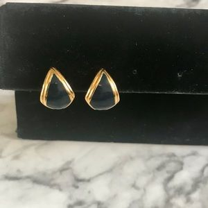 Jewelry - Vintage Monet Gold Tone with Blue Acrylic Earrings
